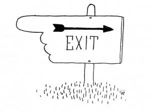 de vinger van het bord 'exit' wijst de andere kant op