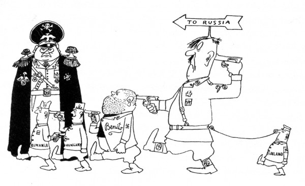 karikatuur op Hitler en diens geleidelijk in betekenis afnemende trawanten